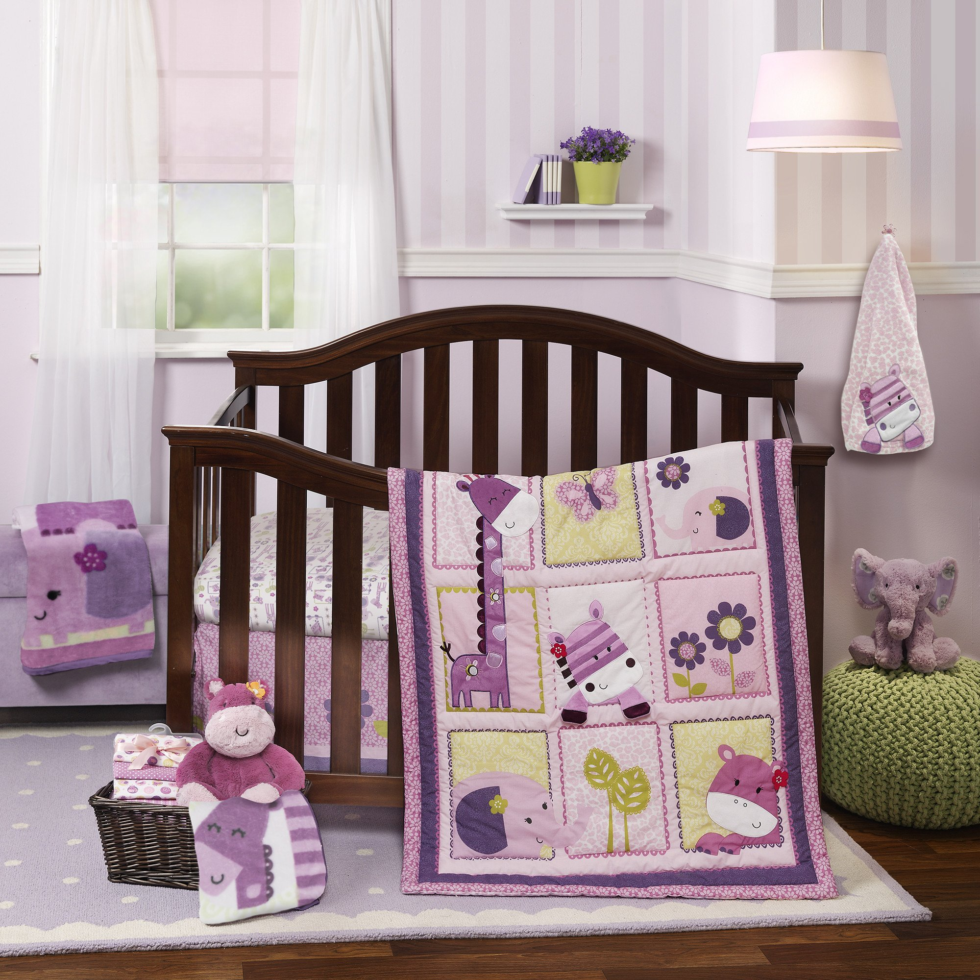 Hopscotch Jungle Pink Purple Animal Floral And Butterfly