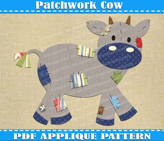 Patchwork Cow Applique Pattern Template PDF by AdornablePatterns ... : cow quilt pattern - Adamdwight.com