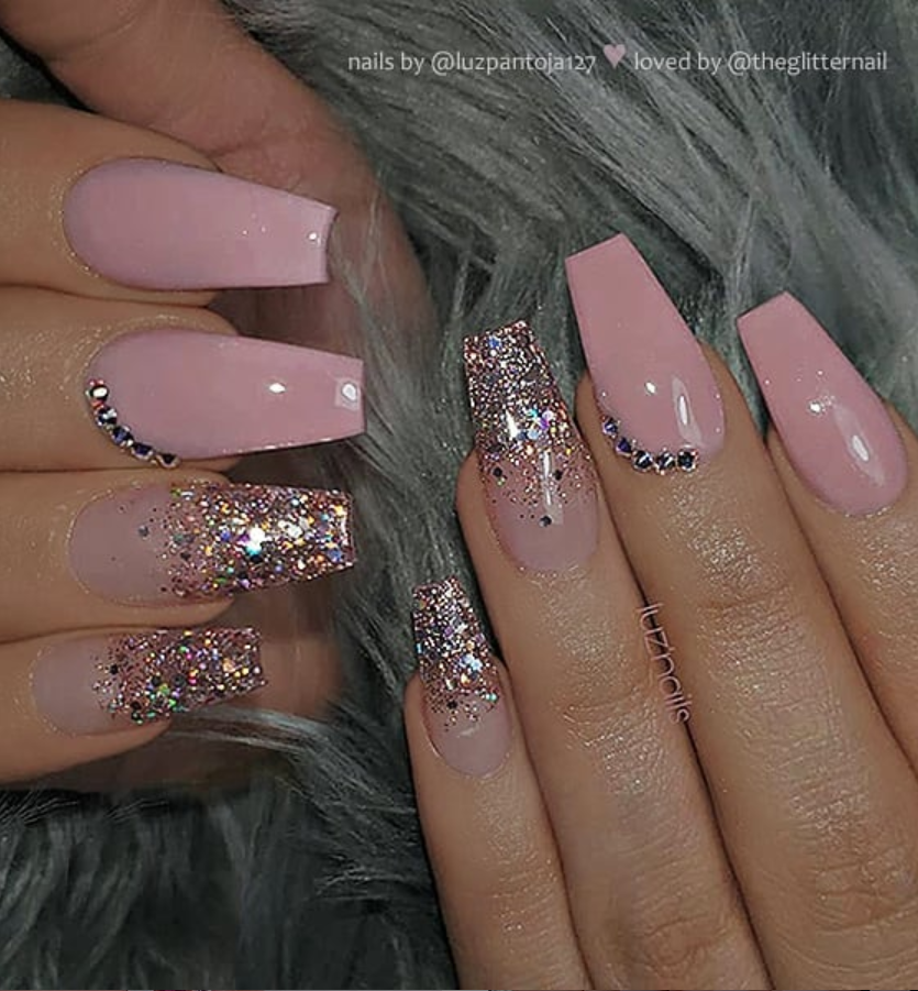 50 Pretty French Pink Ombre And Glitter On Long Acrylic Coffin Nails Design Page 26 Of 53 Latest Fashion Trends For Woman Mauve Nails Pink Ombre Nails Light Pink Nails