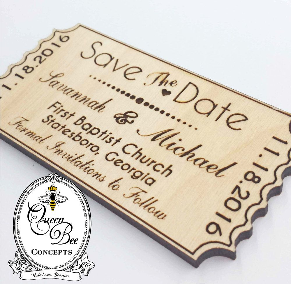 Save the Date Wood Magnet - Ticket Stub Magnet -Wedding Favor ...