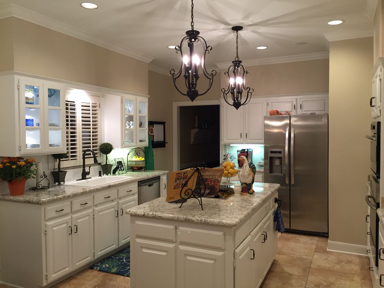 White kitchen cabinets, White Spring granite, Sherwin Williams China ...