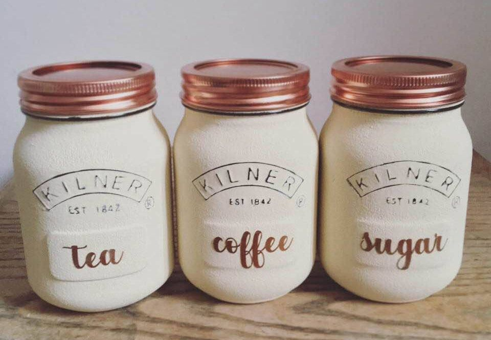 White and Copper Kitchen X 3 Tea Rose Gold 1 Ltr Coffee And Sugar Canisters