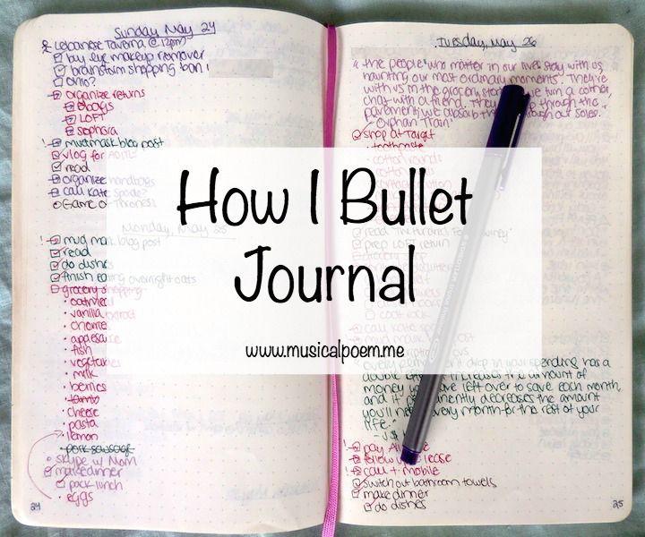 Musicalpoem How I Bullet Journal Bullet Journaling