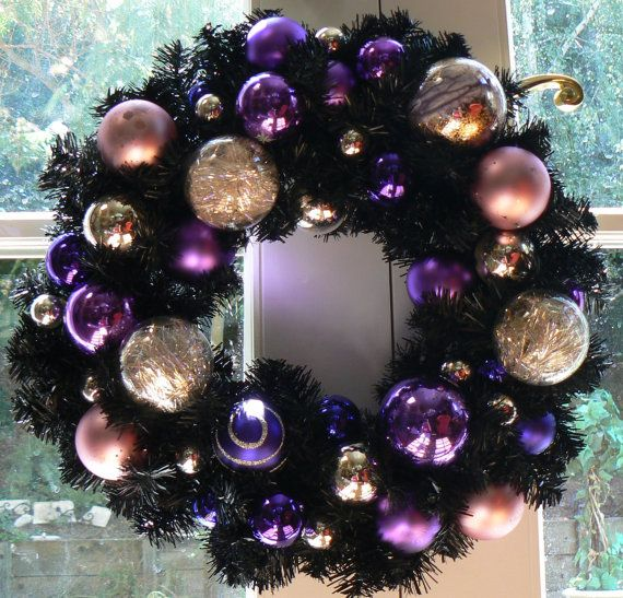 Black Christmas Wreath With Puple Gold Ornaments I Love