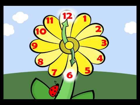 Learn how to tell time with this video about reading a flower clock. This video shows kindergarten kids how to read the hour hand on an analog clock. Uses music to help kids tell time. What time is it? It's flower time!