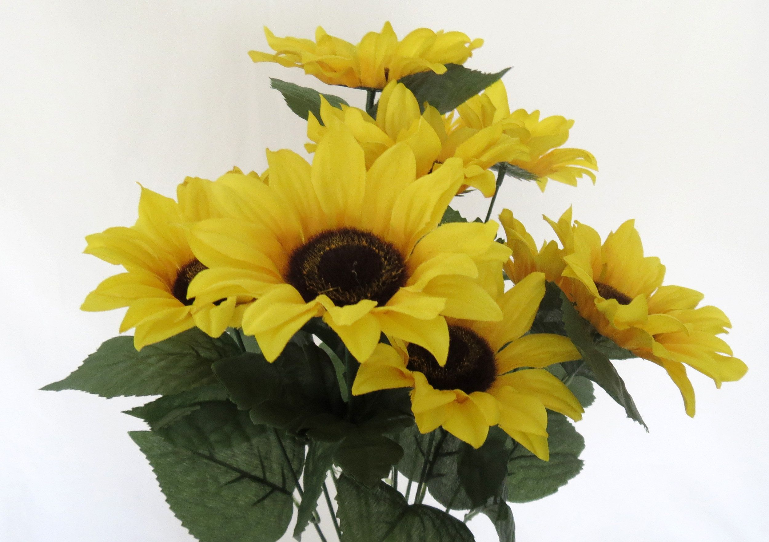 Sunflower Floral Bush Faux Sunflowers Artificial Yellow Flowers Home Decor Floral Supplies Fake Sunflowers Faux Sunflower Artificial Flowers Floral Supplies