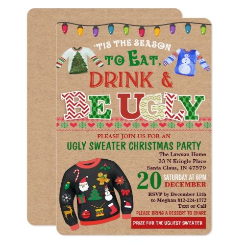 Ugly Sweater Christmas Party Invitation in 2018 Christmas