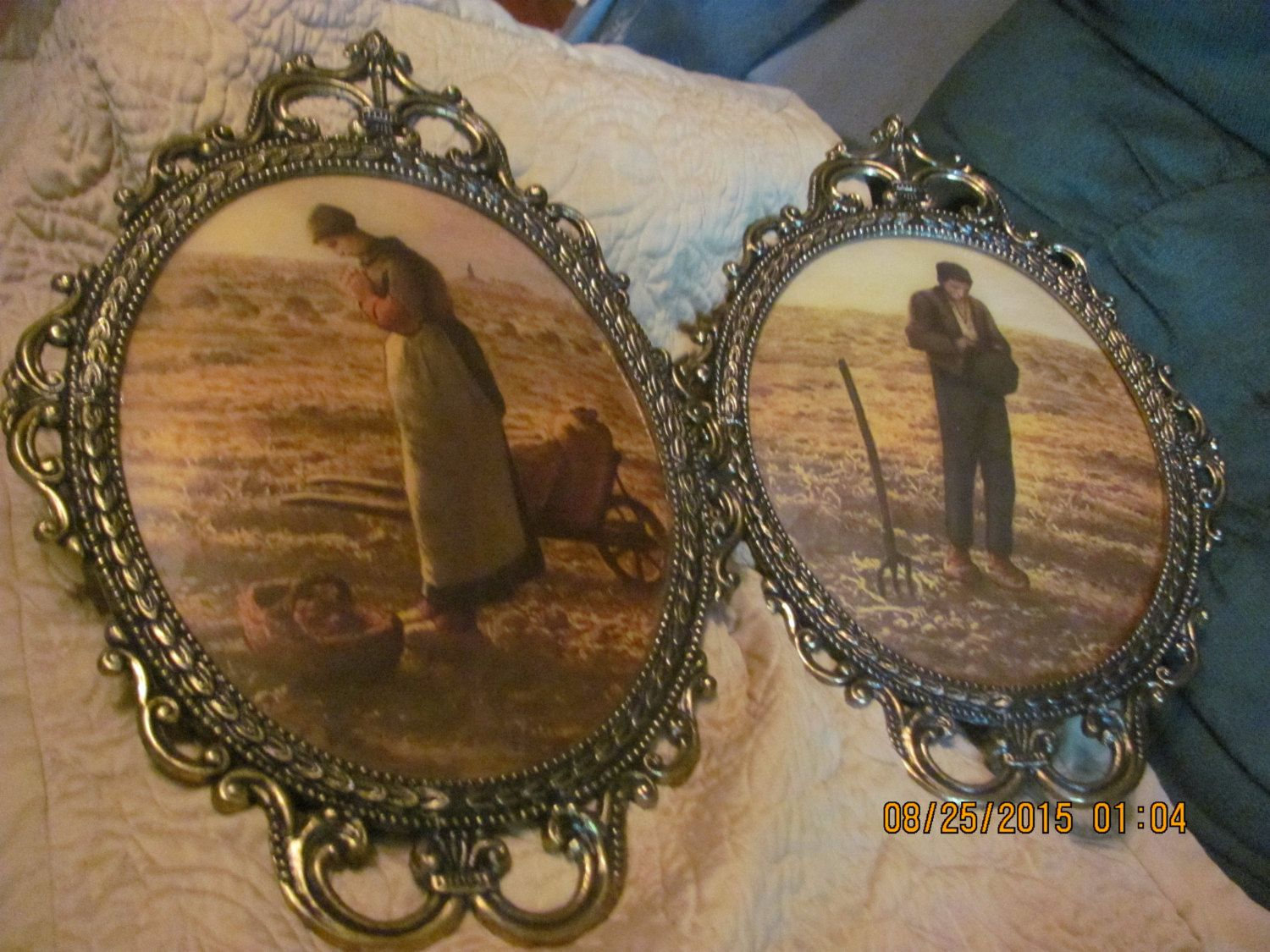 Hold for randy free shipping pair large antique brass fancy scroll free shipping pair ornate large antique brass fancy scroll the angelus man woman farmer prints convex jeuxipadfo Images