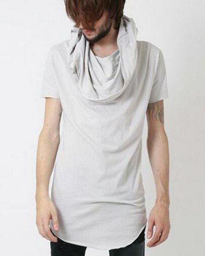 965b0518f33819 Plain white cowl neck t shirt with hood for men hip hop short sleeve hoodies