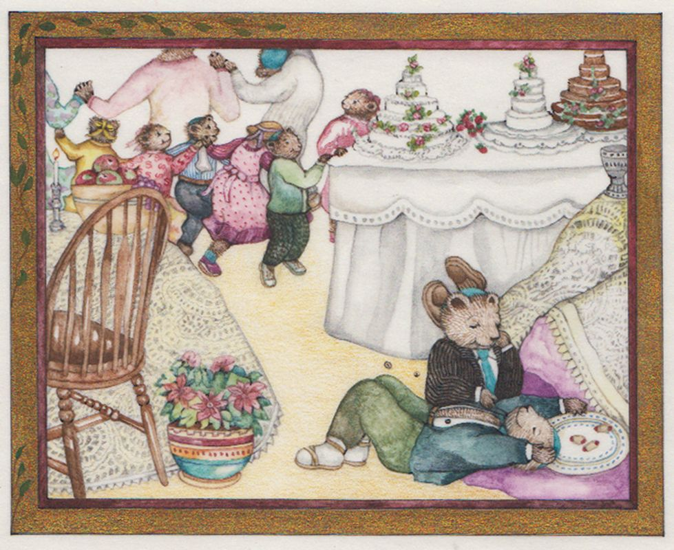 Beni And Max Eating Too Much, original illustration from Beni's First Wedding written and Illustrated by Jane Breskin Zalben | R. Michelson Galleries