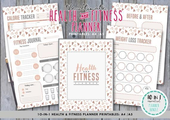 The Ultimate 10 in 1 Health and Fitness Planner.Health Planner.Fitness journal.Fitness Tracker.Daily...