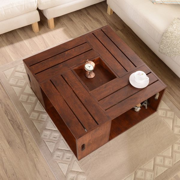 Furniture of America 'The Crate' Square Coffee Table with Open Shelf Storage - Overstock™ Shopping - Great Deals on Furniture of America Coffee, Sofa & End Tables