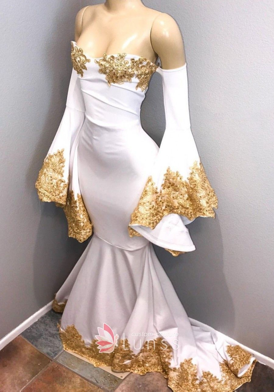 Gold embroidered strapless offshoulder bell sleeve white mermaid