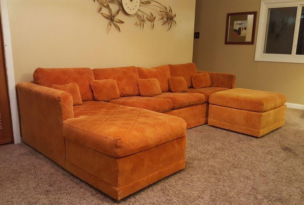 Vintage KROEHLER Mid Century Modern Retro Sectional Sleeper Sofa Chaise  Boxy #MidCenturyModern #Kroehler