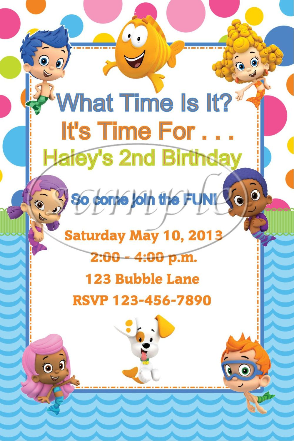 Bubble Guppies Personalized Party Invitations by CraftythingsbyKim, $1.25