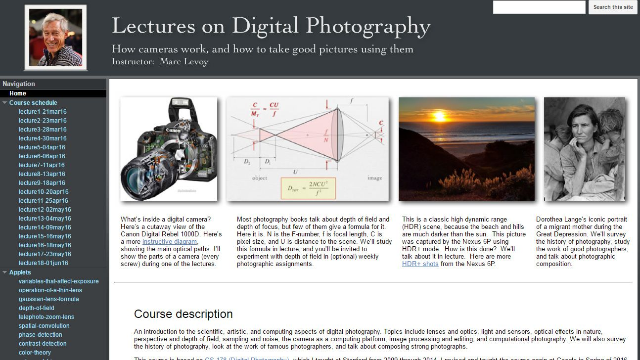 Stanford Professor puts his entire digital photography course online