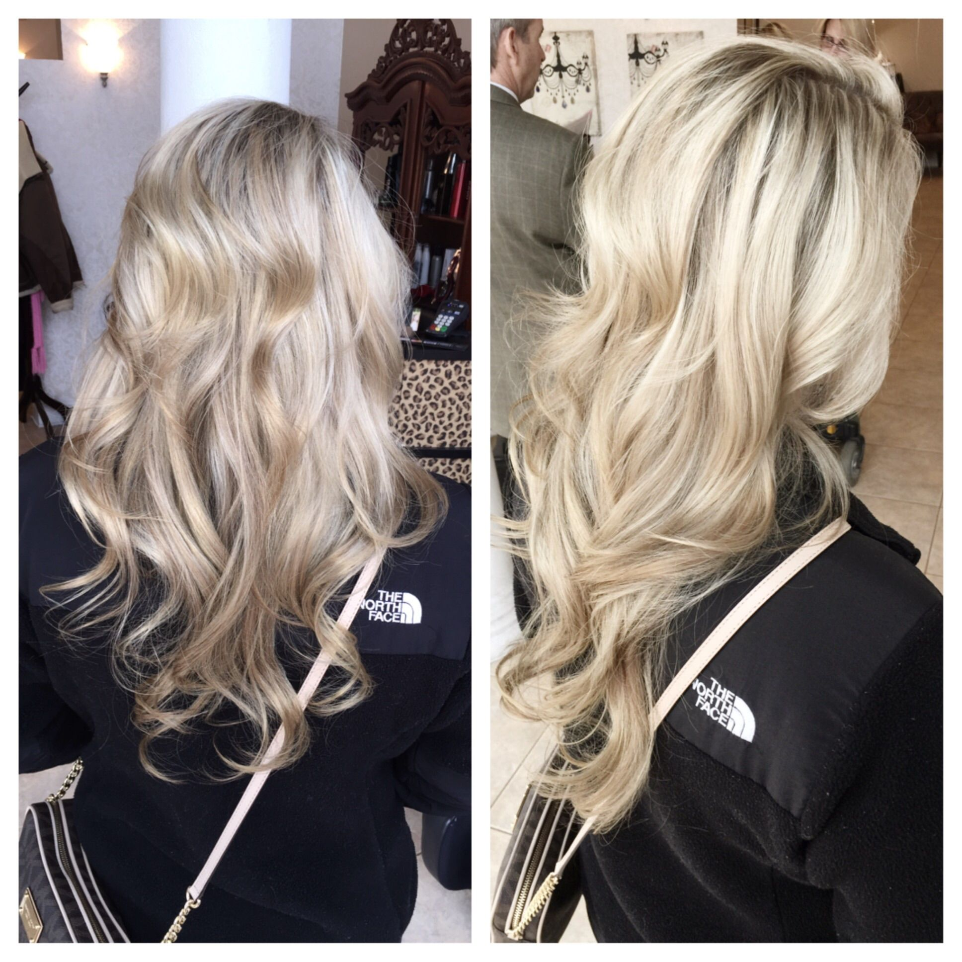 Beige Blonde Highlights 9t Toner Shades Eq Long Layers Soft Curls Perfect For A Natural