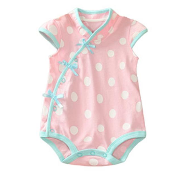 31d874d380ba CSR001 Polka Dot Cheongsam Romper Pink Asian Babies