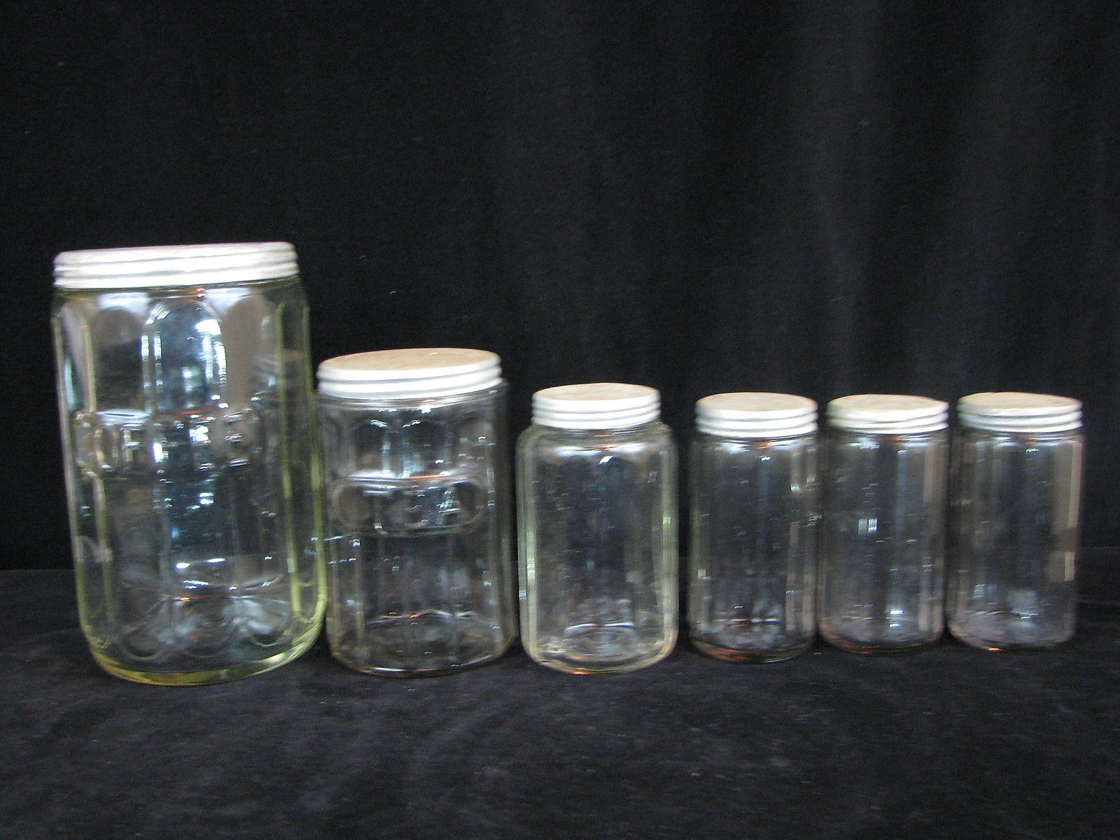 6 Vintage Glass Kitchen Counter Hoosier Jars U0026 Spice Containers W Tin Lids