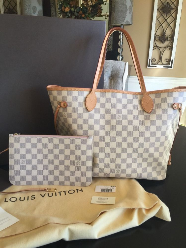 1d87776c2312 Authentic -Louis -Vuitton Neverfull MM Damier Azur Rose Ballerine  fashion   clothing  shoes  accessories  womensbagshandbags  ad (ebay link)