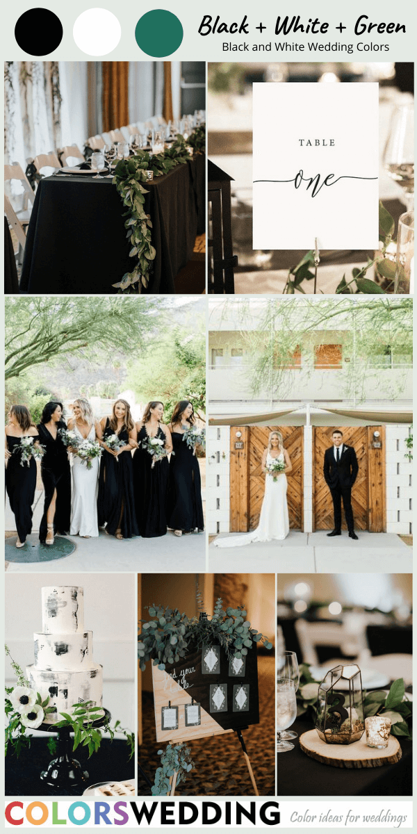 Perfect 8 Black and White Wedding Color Combos