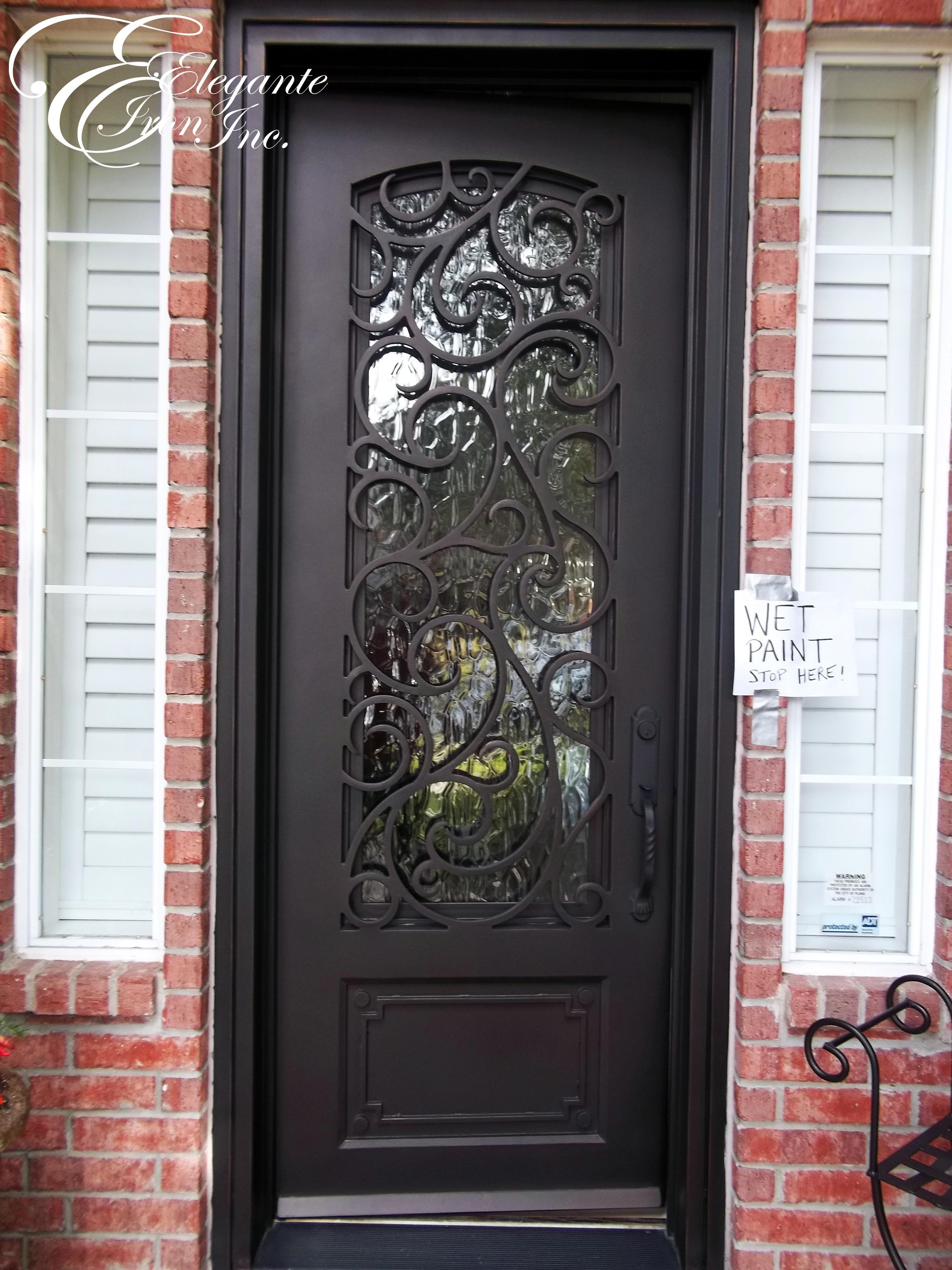 Superb Black Exterior Door 8 Black Front Door Home Depot: Custom Wrought Iron Front Door.