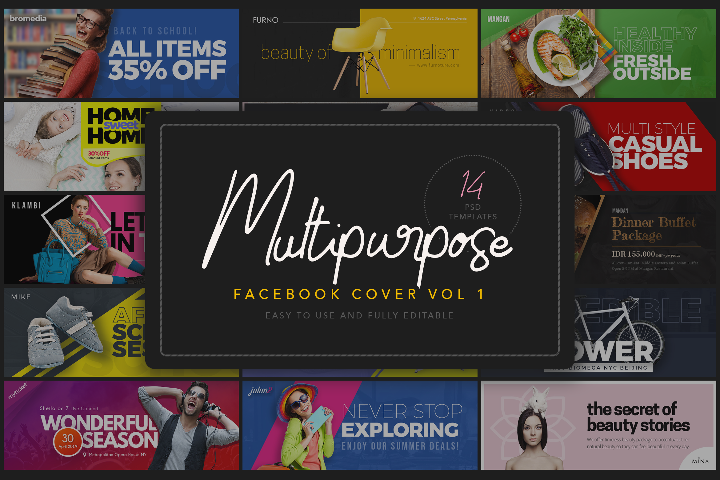 Introducing Multipurpose Facebook Cover Template This Pack Includes 14 Psd Templates Comes With The Various Theme Music Event Food Restaurant