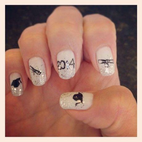 Simple Nail Designs For Graduation - Graduation Nails 2017 #BeautyStyleHair Pinterest Fun Nails