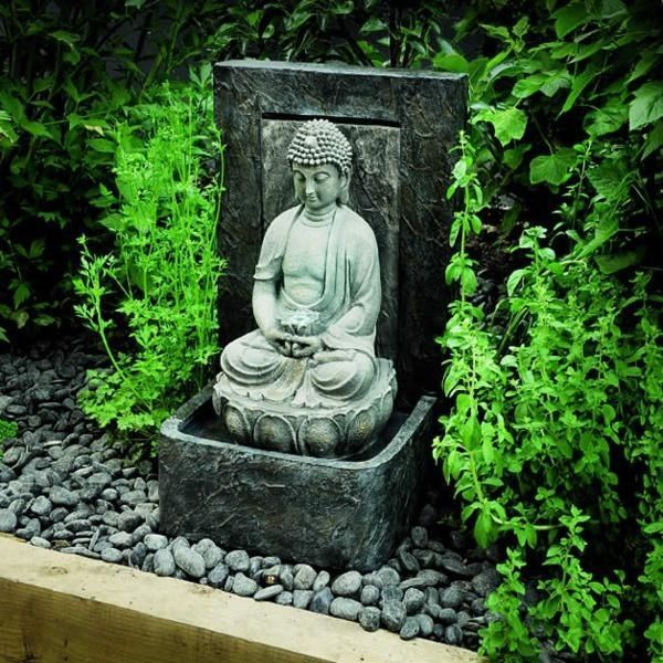 Tranquil buddha oriental themed garden water feature with for Japanese themed garden ideas