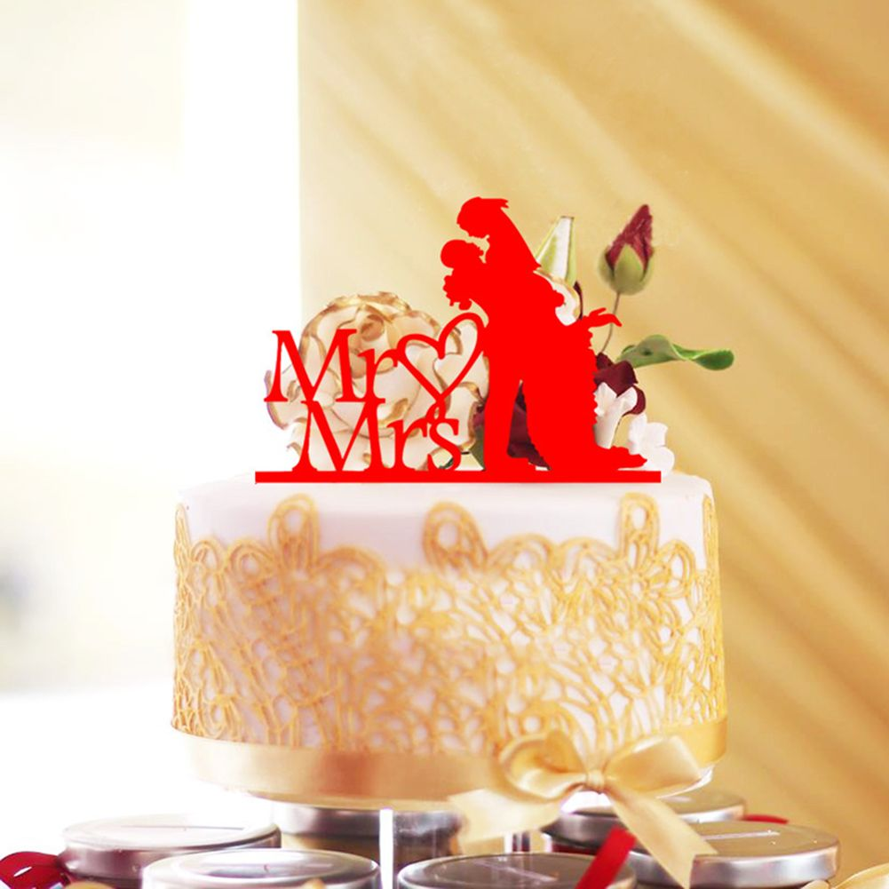 Wedding Cake Topper Figurines Acrylic Mr & Mrs Anniversary ...