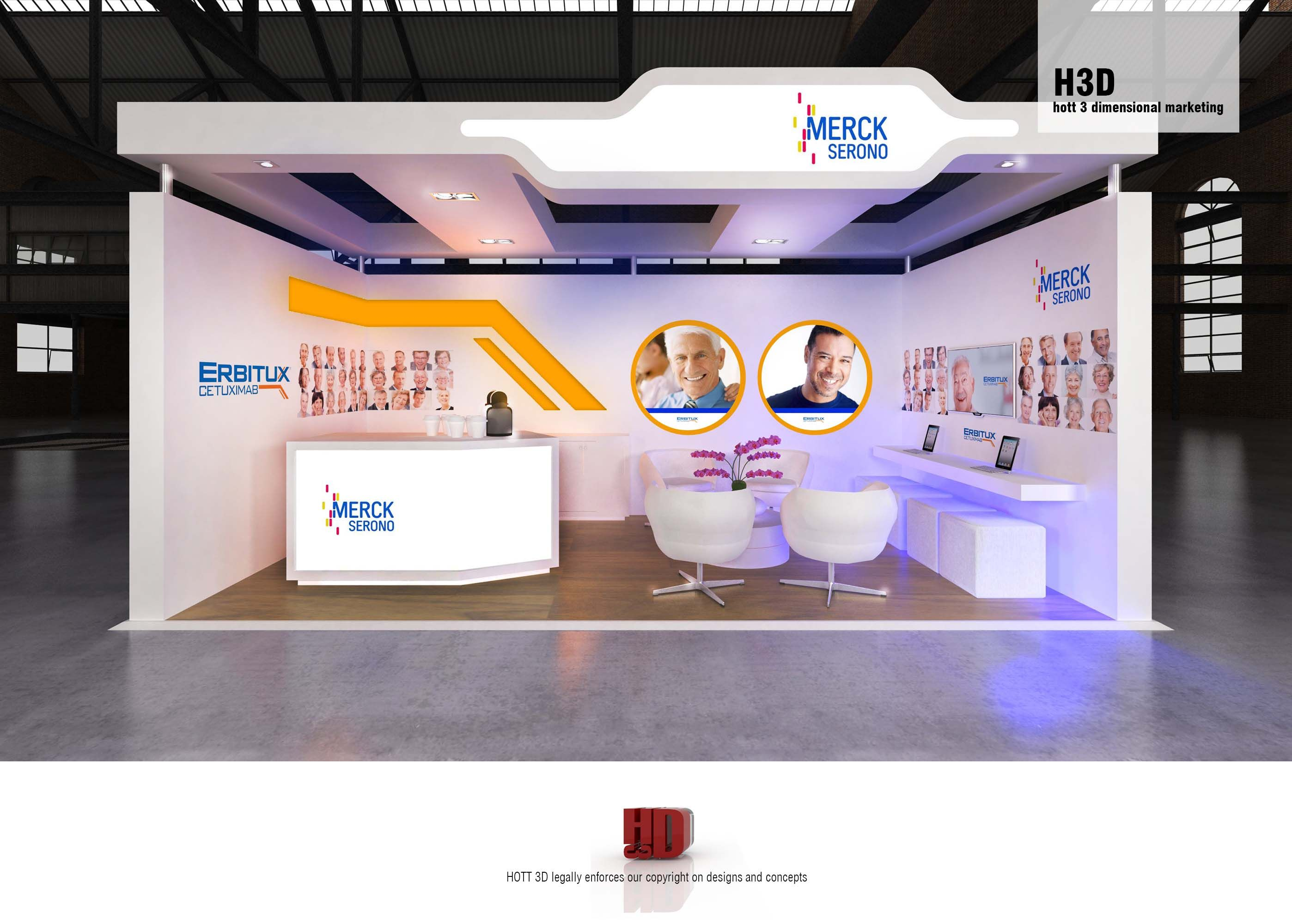 Merck serono full custom 6m x 3m booth hott3d c a d for Kitchen design 6m x 3m