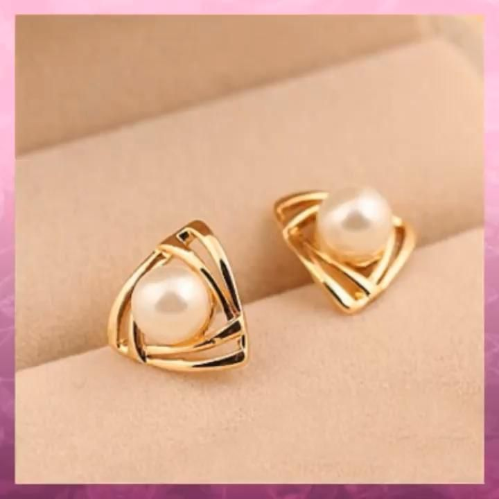 Photo of Lovely Triangle Pearl Earring Studs