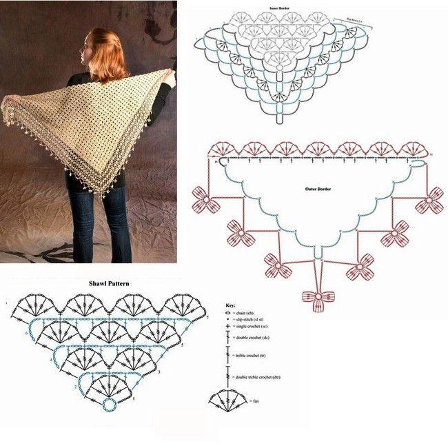 Scialli a uncinetto: galleria di modelli con schemi | capas y puntos ...