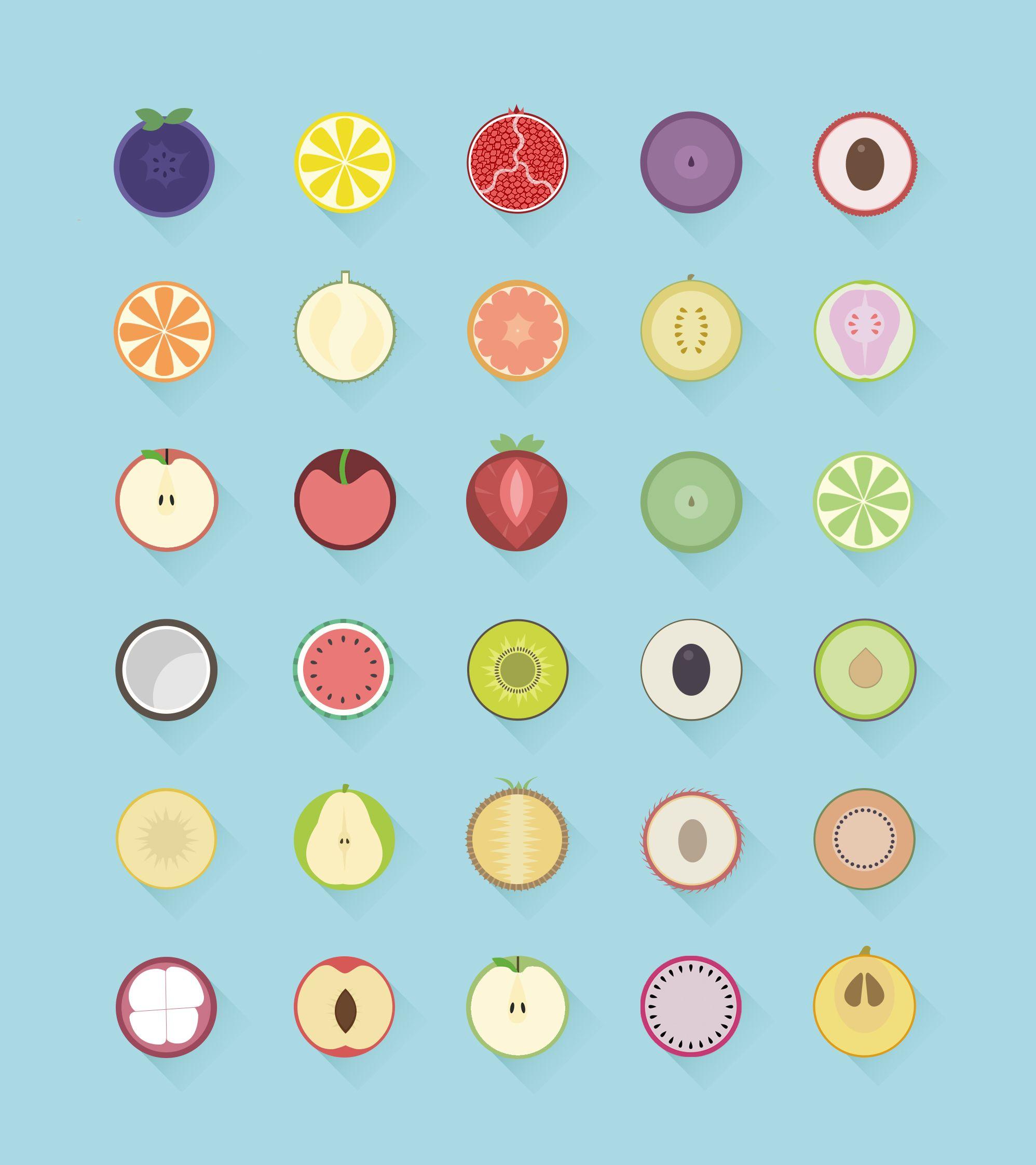Fruit Icons, Kawaii Doodles E Fruit Art