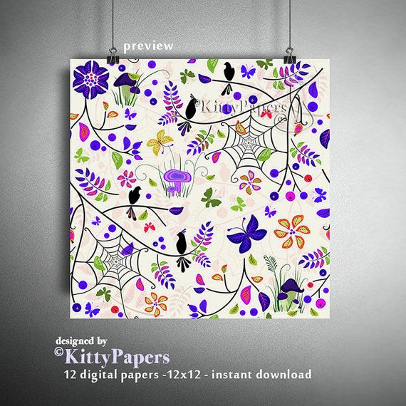 Autumn digital paper : Colorful Autumn fall digital by kittypapers