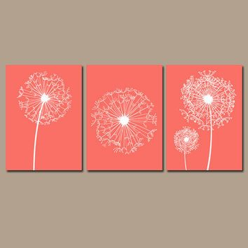 Dandelion Wall Art Flower Artwork Coral Custom Colors Modern Nursery Set Of 3 Prints Decor Bedroom