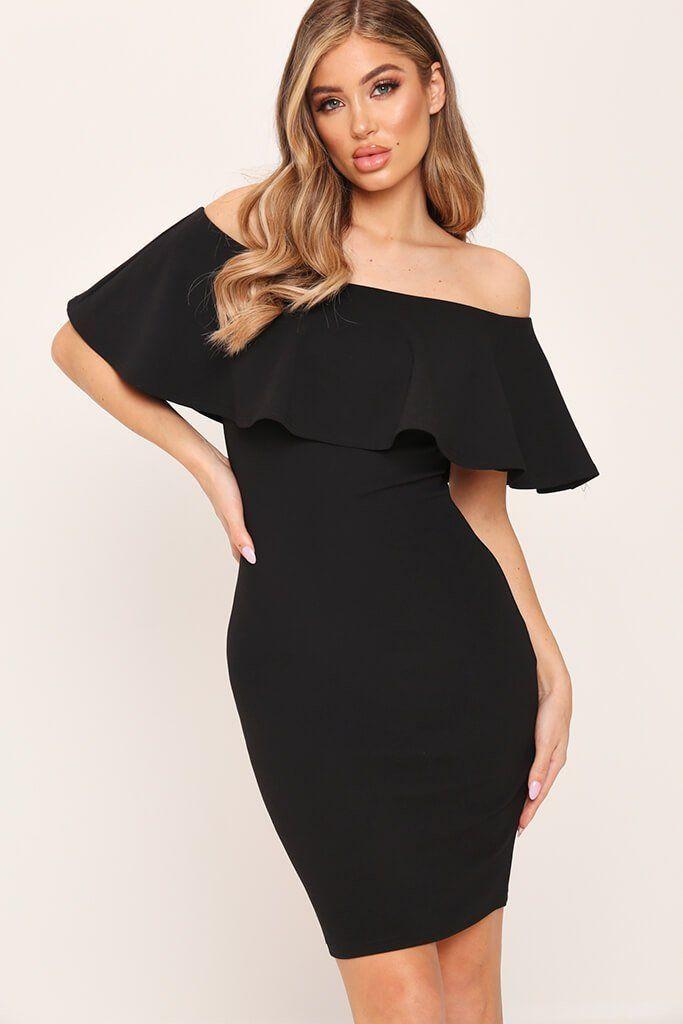Carpet size black bardot frill detail bodycon dress shirt venus with