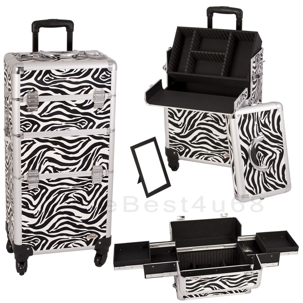 Really want this 4pc zebra train case to hold all my makeup and beauty products