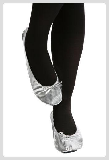 Damen 1 Paar Rollasole Silber aufrollbare After-Party-Schuhe in der Handtasche  halten -