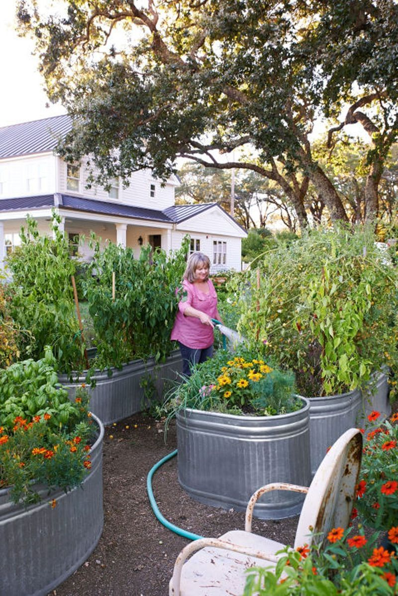Beau Galvanized Metal Containers In The Garden Raised Gardens, Raised Garden Beds,  Raised Beds,