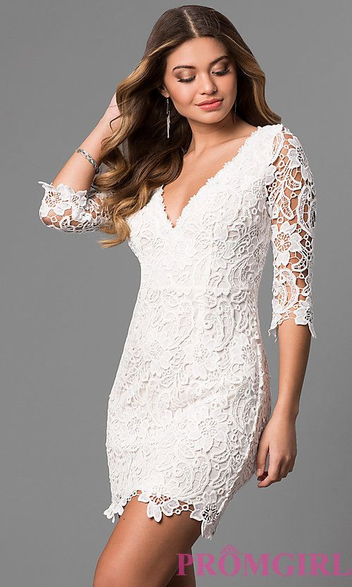 b97bd5c85d Image of short v-neck graduation dress with 3/4 sleeves. Style: LP-27048  Front Image
