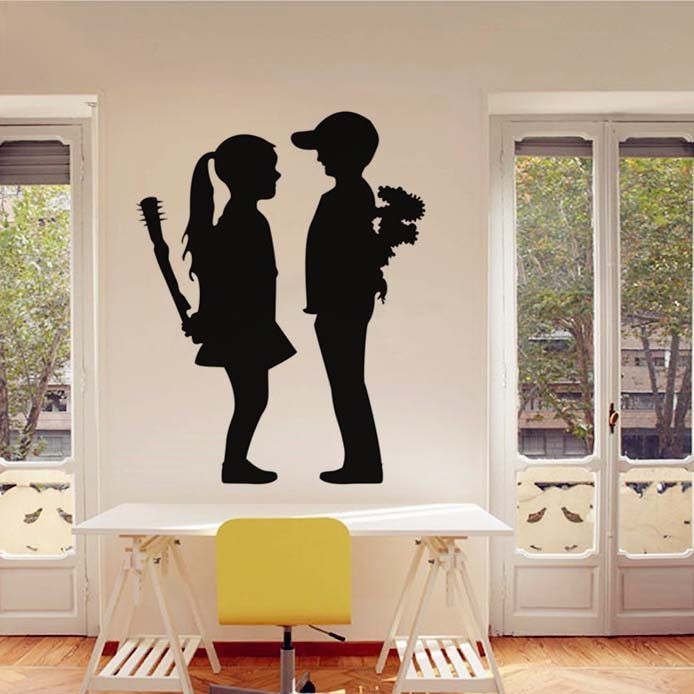 Boy Meets Girl Banksy Wall Decal Products Pinterest Meet Girls