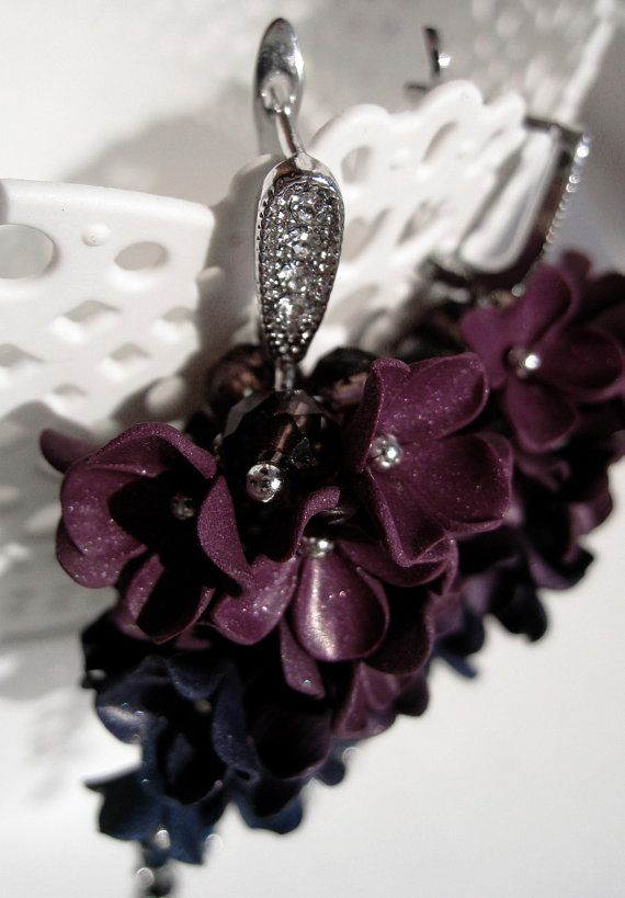 Super sparkling long floral earrings. Material - silver plated over ... d5dcf09110b