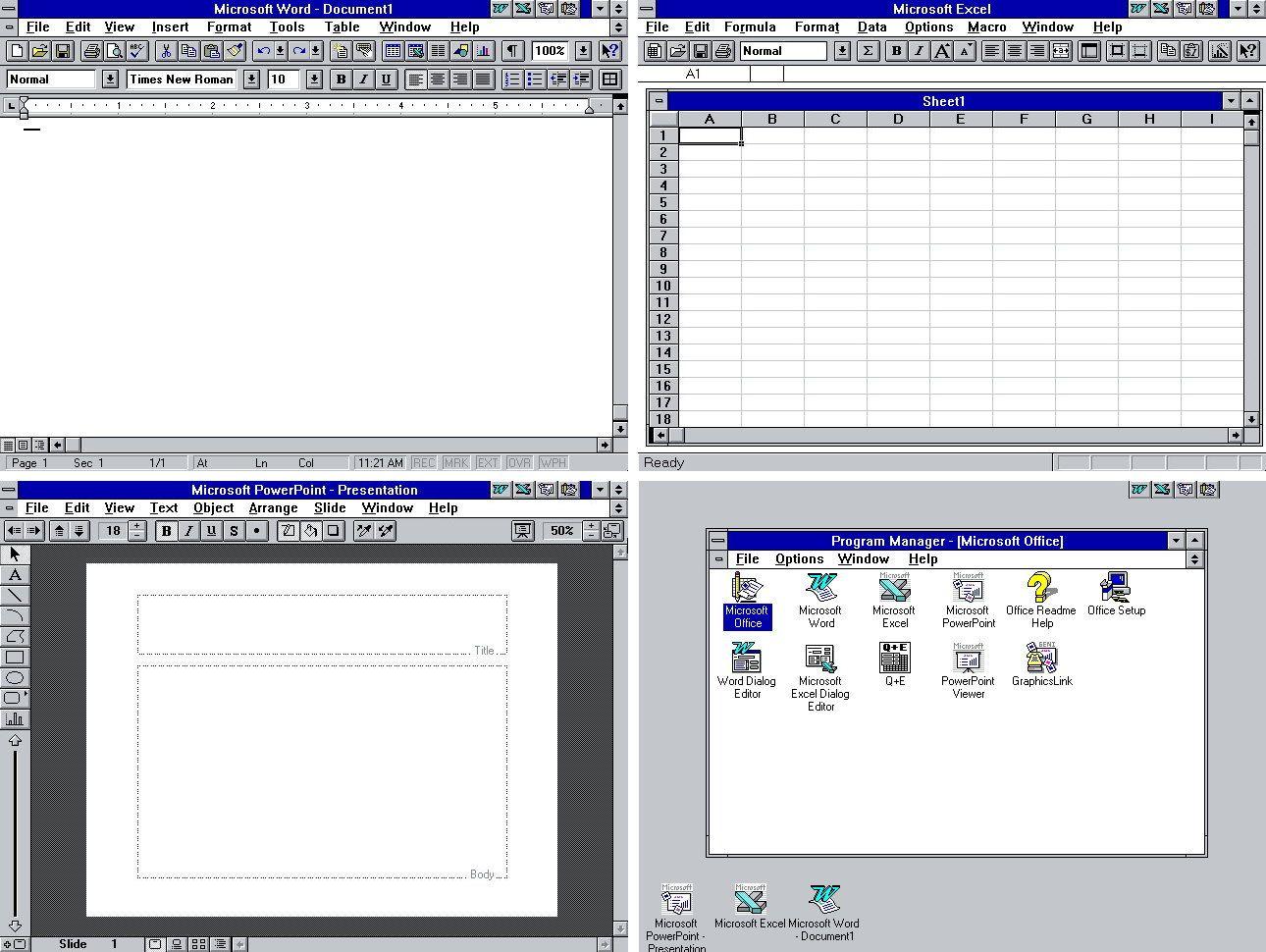 Microsoft office history vers since 10 19901119 via