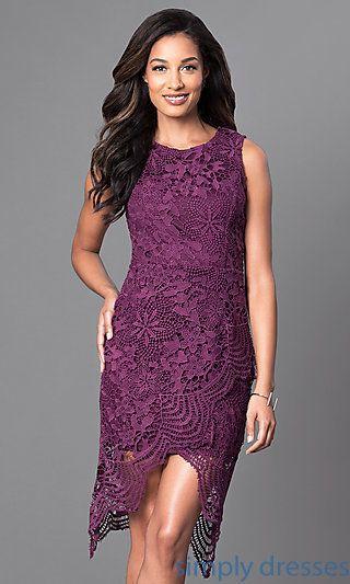 Knee Length Lace Wedding Guest Dress In Wine Purple