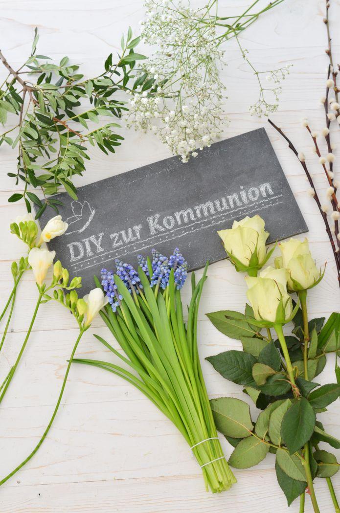 Photo of Tischdeko zur Kommunion oder Konfirmation selber machen – Blumendeko in Blau-Weiß