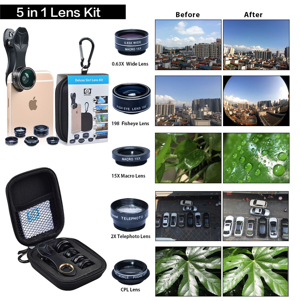 408f1739bfb79b APEXEL HD Camera Lens 5in1 fisheye wide angle macro zoom cpl lens for apple iphone  xiaomi samsung huawei htc Android Smartphone