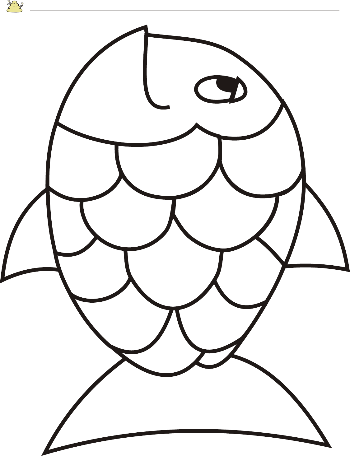 Free rainbow fish template pdf 2 page s page 2 for Fish coloring pages for preschool