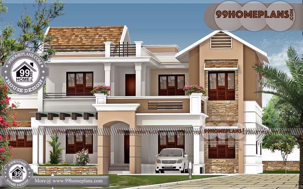 Latest House Models In India With Two Storey House Design With Floor Plan With Elevation Having In 2020 Kerala House Design Latest House Designs Beautiful House Plans