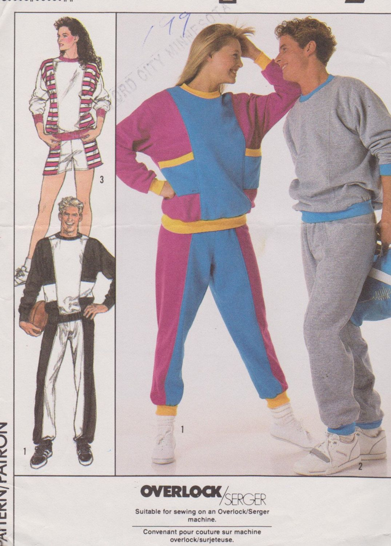 Men\'s/Women\'s 1980\'s Sewing Pattern Simplicity 8959 Activewear Sweat ...